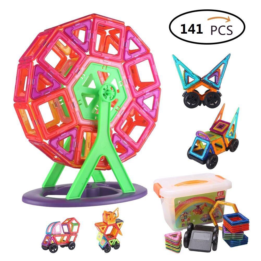 Blocchi magnetici, blocchetti di costruzione magnetici di colori di 141 parti Multi hanno messo il giocattolo educativo per il regalo dei bambini Ccfoud