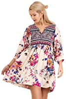 Umgee Floral Print Peasant Dress Tunic Plus Size