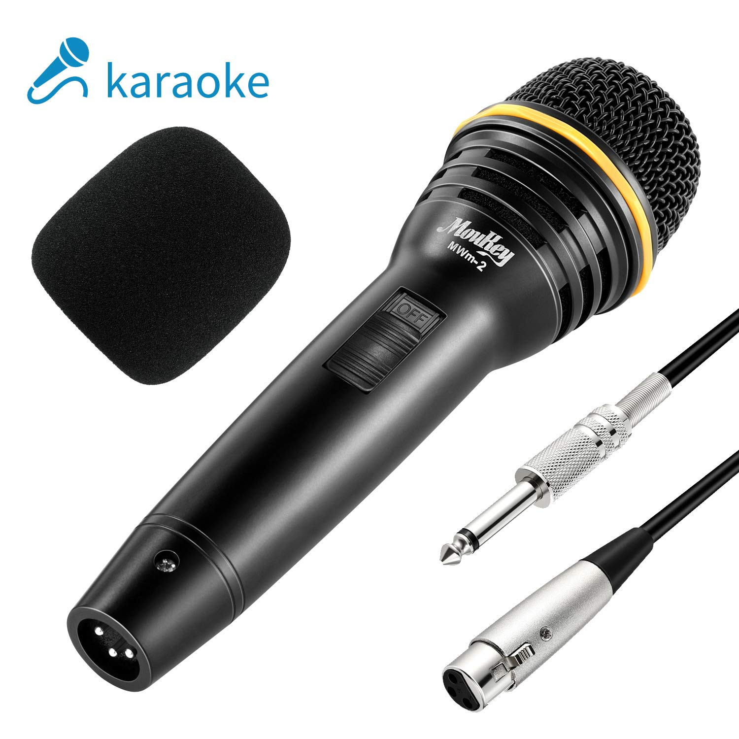 Moukey Dynamic Karaoke Microphone Wired Metal Handheld Mic for Singing/Speech/Stage/Karaoke Machine/Event 16.40 ft XLR to 1/4'' Cable - (MWm-2) by Moukey