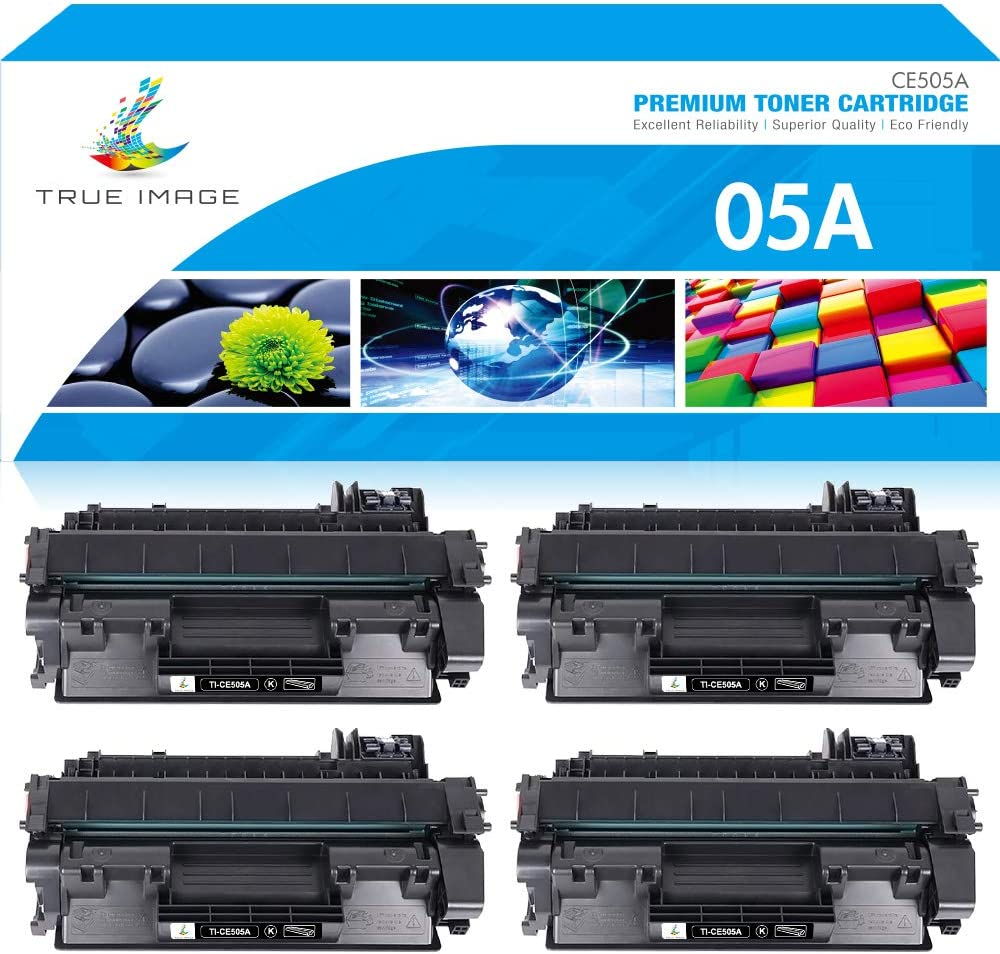 True Image Compatible Toner Cartridge Replacement for HP 05A CE505A Laserjet P2035 P2035N P2030 Laser Jet P2055DN P2055D P2050 P2055X 2055 2035 Printer (Black, 4-Pack) (P2035 P2055DN P2035N Cartridge)