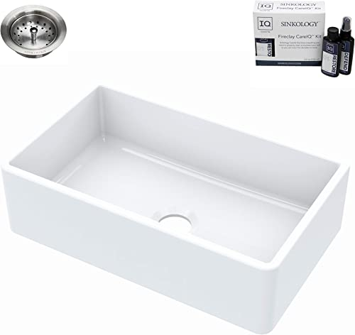 Sinkology SK404-30FC-B-IQ Turner Farmhouse 30 in. Single Bowl Crisp White with Drain and CareIQ Kit Fireclay Kitchen Sink