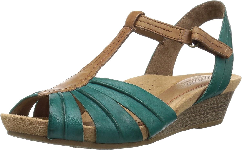 Cobb Hill Women's Hollywood Pleat T Sandal, Lagoon Leather, 8 M US