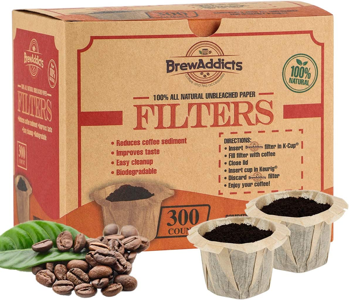 Brew Addicts Disposable K-cup Paper Coffee Filters | All-Natural & Unbleached Coffee Filter for Keurig Single Serve | Perfect Size & Quantity | 300 Count