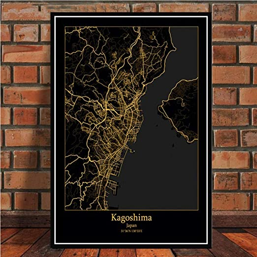 Amazon Com Gdpootree Amsterdam Barcelona Modern World City Gold Map Travel Large Poster Prints Paintings Art Wall Pictures For Living Room Home Decor 42x60 Cm No Frame Green Posters Prints