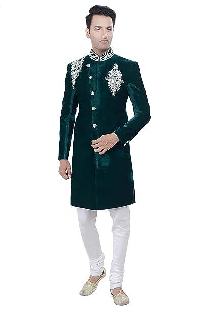Amazon.com: De los hombres traje verde Indo Western Sherwani ...