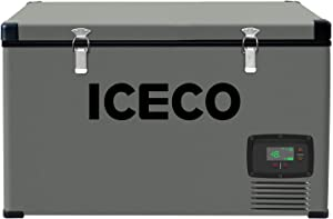 ICECO VL74 Single Zone Portable Refrigerator with SECOP Compressor, 75 Liters Chest Freezer, DC 12/24V, AC 110-240V, 0℉ to 50℉, Home & Car Use (without Insulate Cover)