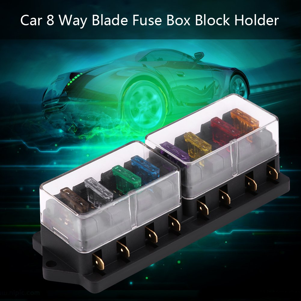 8 Way Blade Fuse Box Holder Middle Sized Circuit Block With Cover For Automotive Car Boat Marine Vehicle Sports Fitness Outdoors