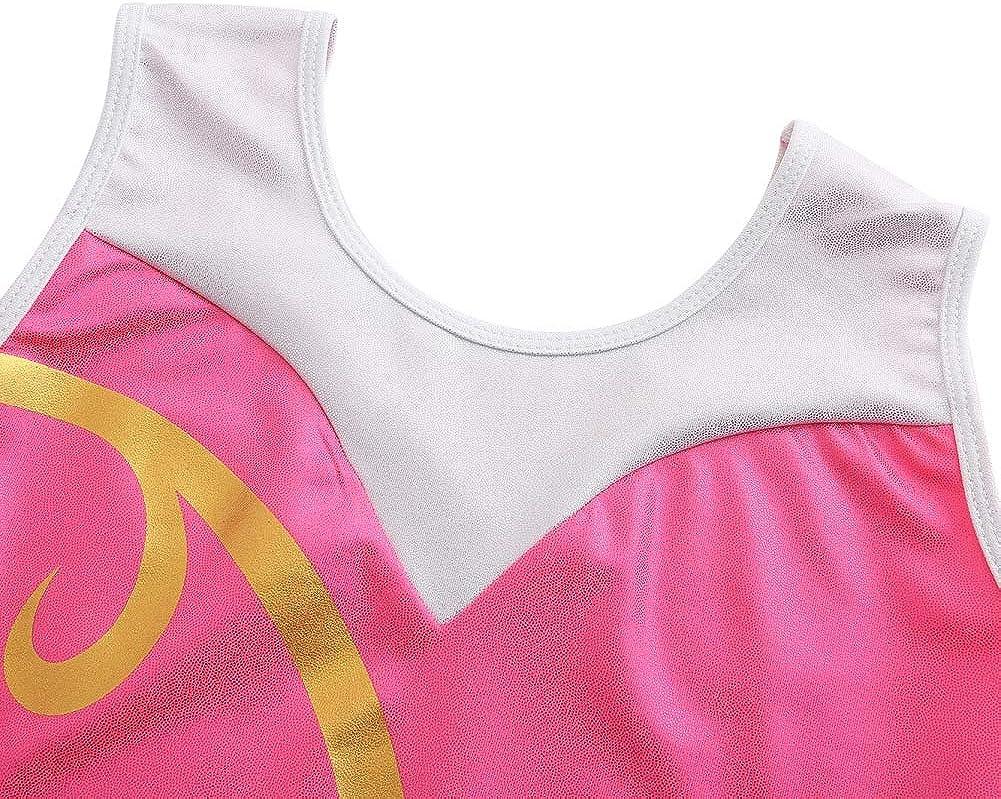 ChYoung Gymnastics Leotards for Girls One Piece Sleeveless Sparkly Ballet Dancing Biketards 5-14 Years