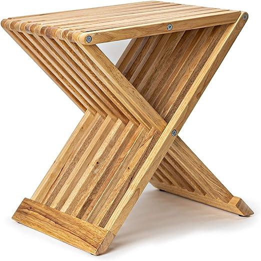 Deliano - Mesa auxiliar plegable de diseño, de madera de caucho ...