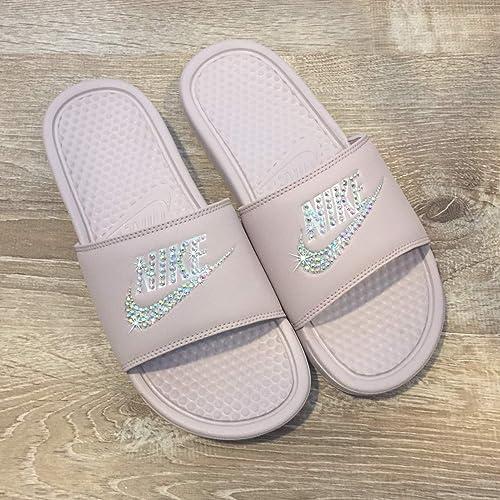 2a7239266af6 Image Unavailable. Image not available for. Color  Swarovski Nike Slides - Nike  Slip On Shoes For Women Rose ...