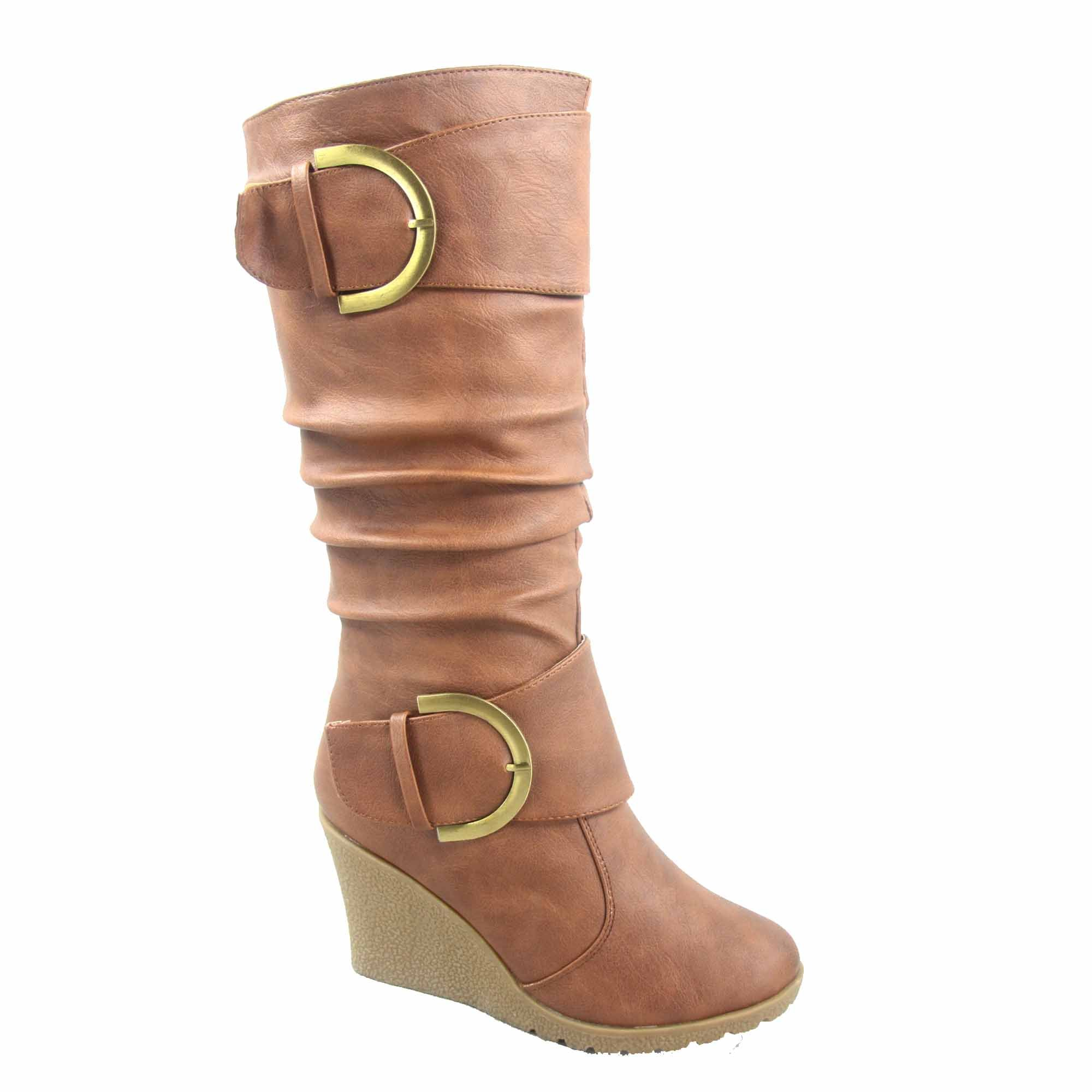 Top Moda Pure-65 Women's Fashion Round Toe Slouch Buckle Wedge Mid Calf Boot Shoes (7.5, Tan)
