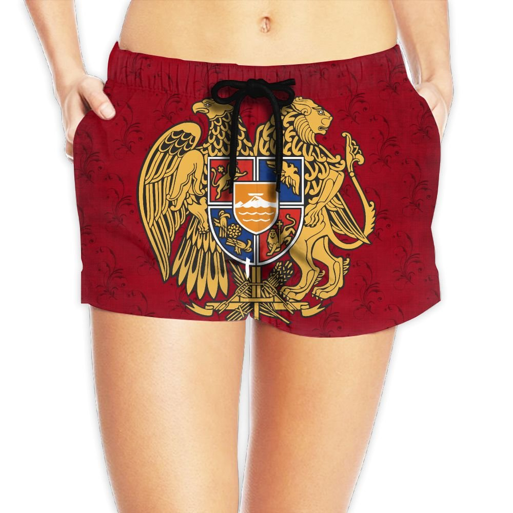 Coat of Arms of Armenia Abali Women Fashion Sexy Quick Dry Lightweight Hot Pants Waist Beach Shorts Swimming Trunks