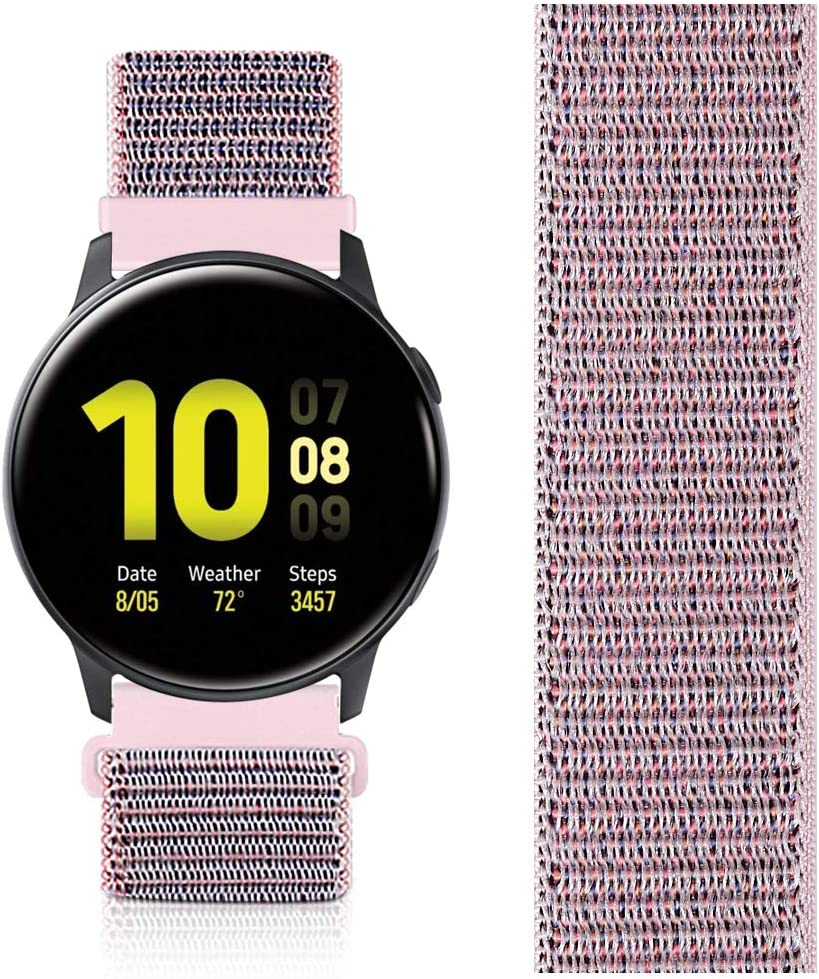 AVOD 20mm Nylon Sport Quick Release Bands Compatible with Garmin vivoactive3/Forerunner 645/Galaxy Watch 42mm Bands/Active2 44mm 40mm (Pink Sand, 20mm)
