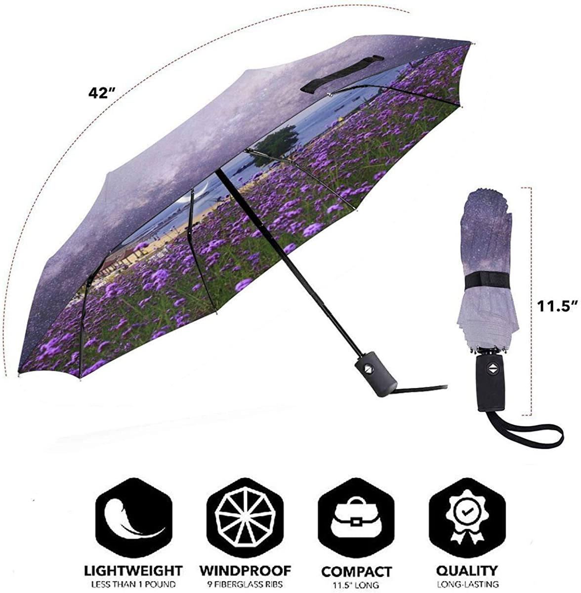 Dalian Delight Island Romantic Twilight Purple Compact Travel Umbrella Windproof Reinforced Canopy 8 Ribs Umbrella Auto Open And Close Button Customized