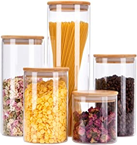 Glass Food Storage Jars Containers with Airtight Bamboo Lids Set of 5 Glass Kitchen Canister Set For spaghetti, Coffee, Flour, Tea, Sugar, Candy, Cookie, Spice and More