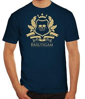 Junggesellenabschieds JGA Hochzeit Herren T-Shirt Wappen Bräutigam, Größe:  S,dunkelblau