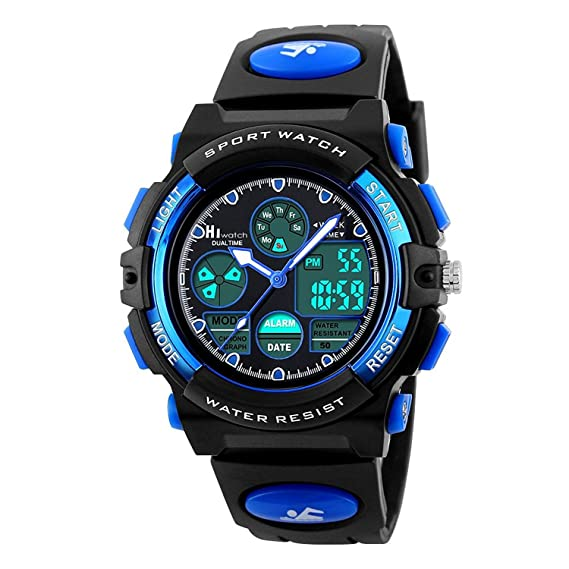 ... Al Aire Libre MultifuncióN Reloj con Alarma/LED Luz/Hora Dual, 5 ATM Impermeable AnalóGico Sport MuñEca Relojes para Adolescentes: Amazon.es: Relojes