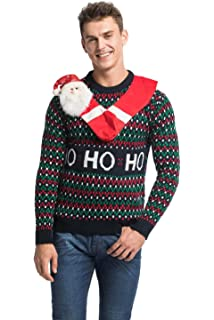 unisex mens ugly christmas sweater funny santa xmas pullover hang out with santa