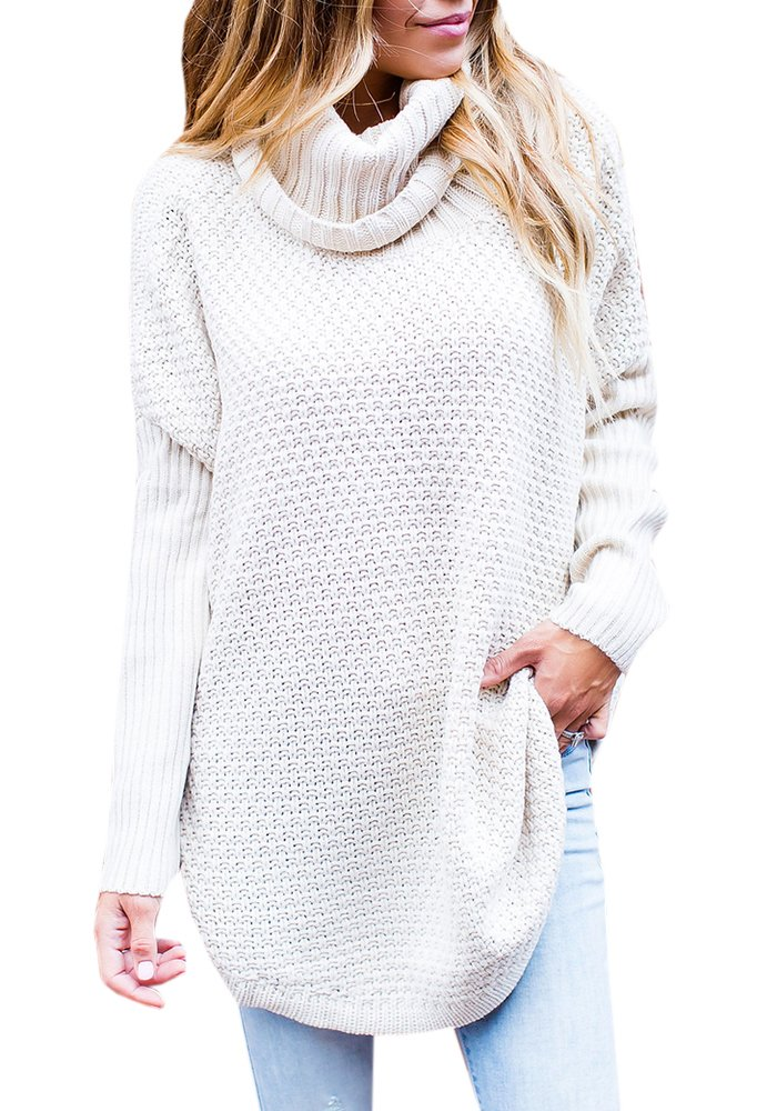 Kathemoi Womens Ribbed Turtleneck Sweaters Long Sleeve Knit Loose Fit Pullover Tops,  White,  Large