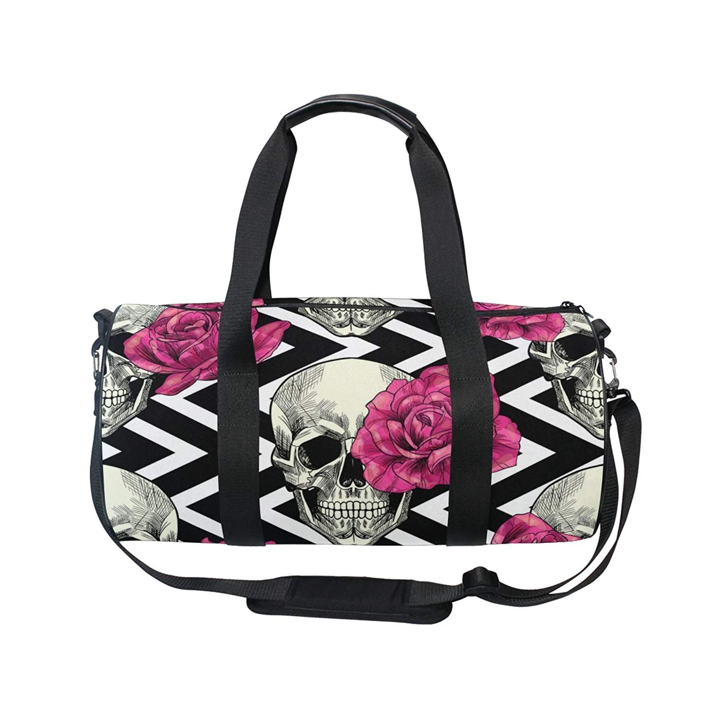 f563dba64516 Amazon.com : OuLian Duffel Bag Skull Geometric Women Garment Gym ...