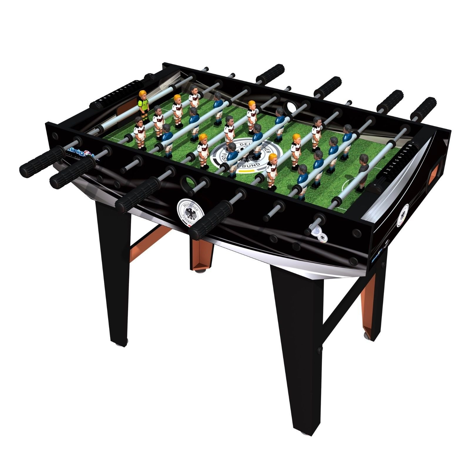Minigols Germany Foosball Table with 11 Germany Figures and 11 Mexico Figures by Minigols