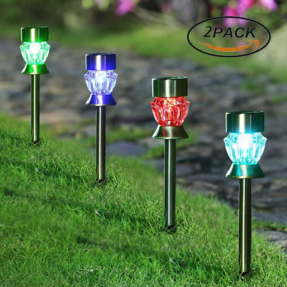 XIHAB Solar Lawn Light Outdoor Waterproof Stainless Steel Colorful LED Diamond New Year Christmas Garland Garden Outdoor Energy Saving Decoration Landscape Night Lamp