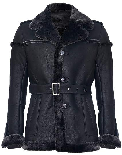 Infinity Leather Chaqueta de Cuero de Gamuza con Punta de Nieve ...
