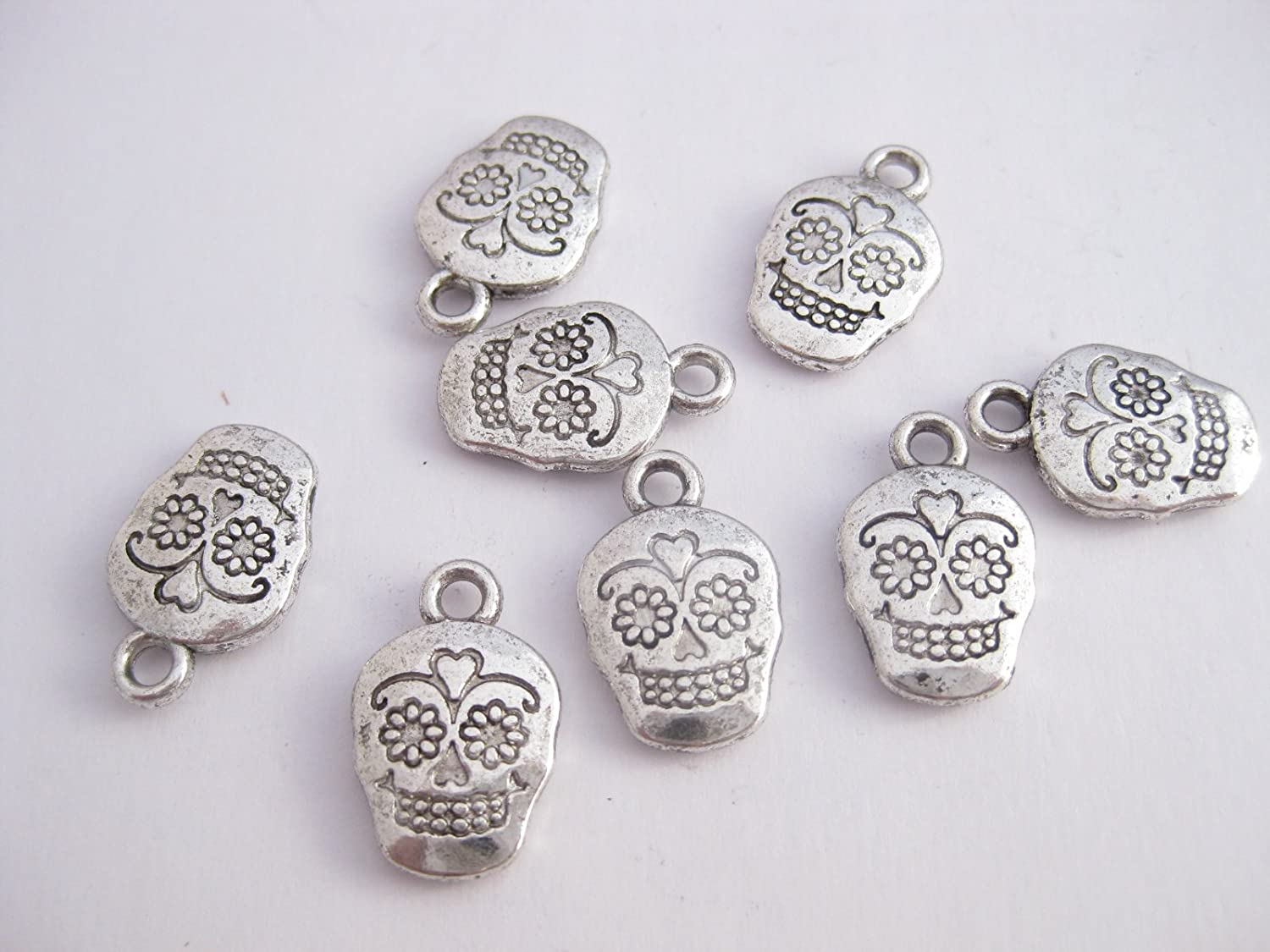 12 Mexican 'Day of the Dead' Sugar Skull Style Charms 18mm x 12mm. CH054 Enchanted Jewels