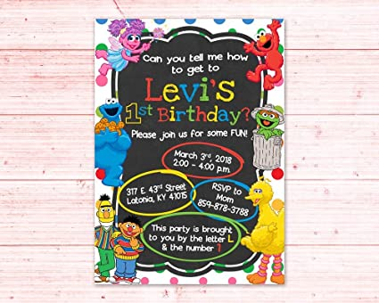 Image Unavailable Not Available For Color Olga212Patrick Sesame Street First Birthday Invitation