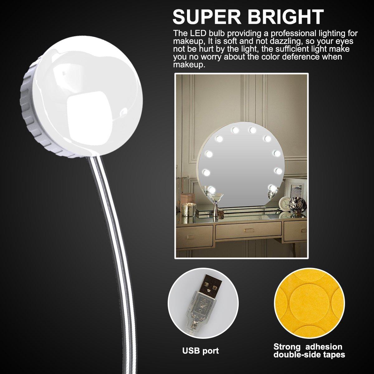 2019 Upgraded Vanity Mirror Lights Kit 10 LED Bulbs 5 Modes Dimmer ...