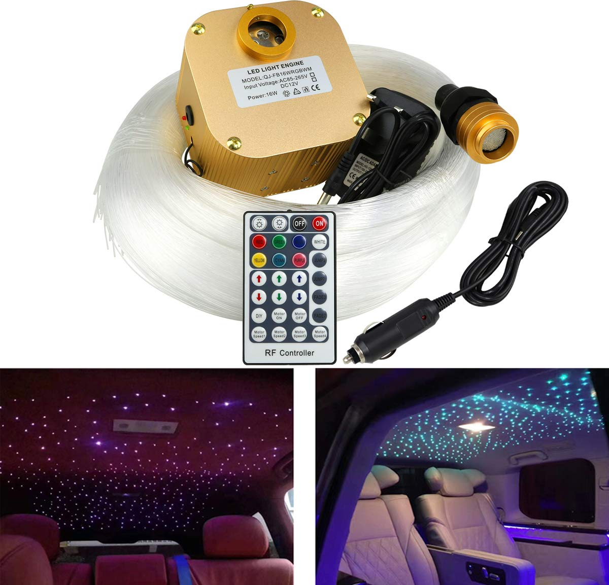 AZIMOM LED Fiber Optic Star Ceiling Light Kit 16W Twinkle RGBW Engine Drive with RF 28 Key Remote for Indoor Car Interior Decoration Mixed 430pcs (0.03+0.04+0.06) in 9.8ft