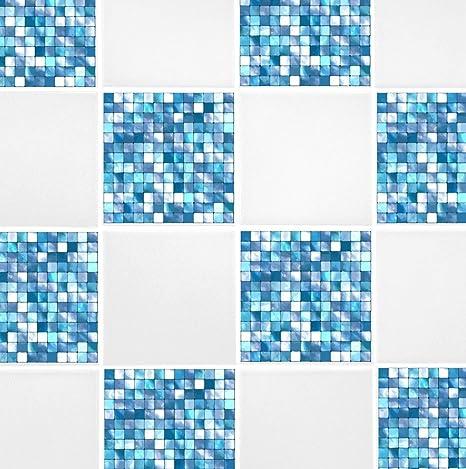 Vinyl Stickers Colorful Mosaic Tiles White Light Blue Grey Blue Orange Red Set 122436 pcs  Tiles for Kitchen for Bathroom  Floor Decals