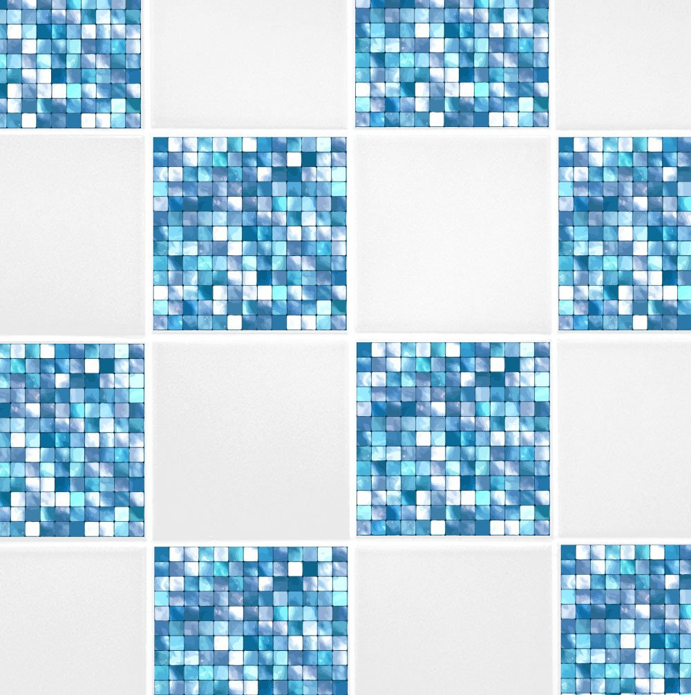Pack of 10 Aqua Blue Mosaic 4'' x 4'' Tile Transfer Stickers Home Improvement Kitchen Bathroom