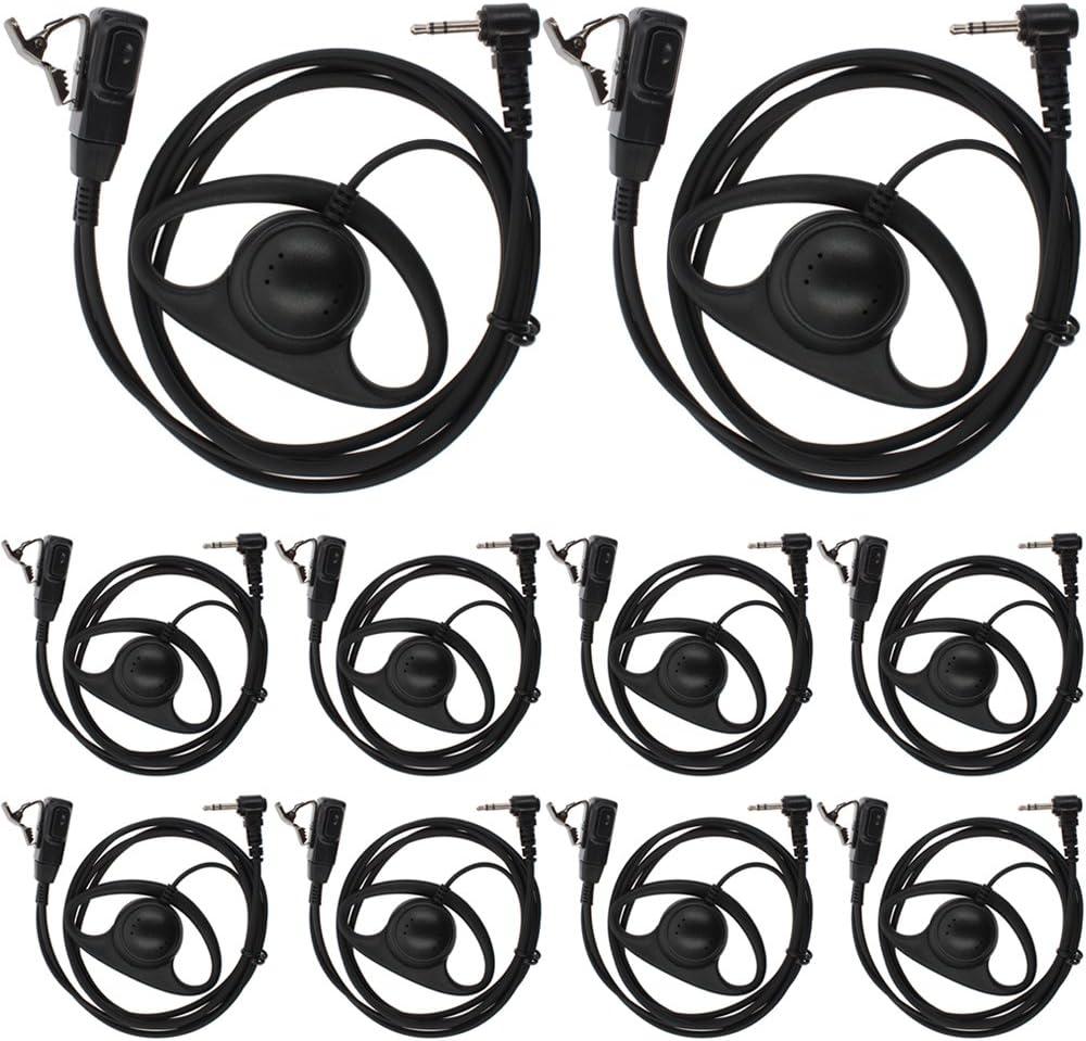TENQ 10pack D Shape Earpiece Headset PTT for Motorola Talkabout Cobra Two Way Radio Walkie Talkie 1pin