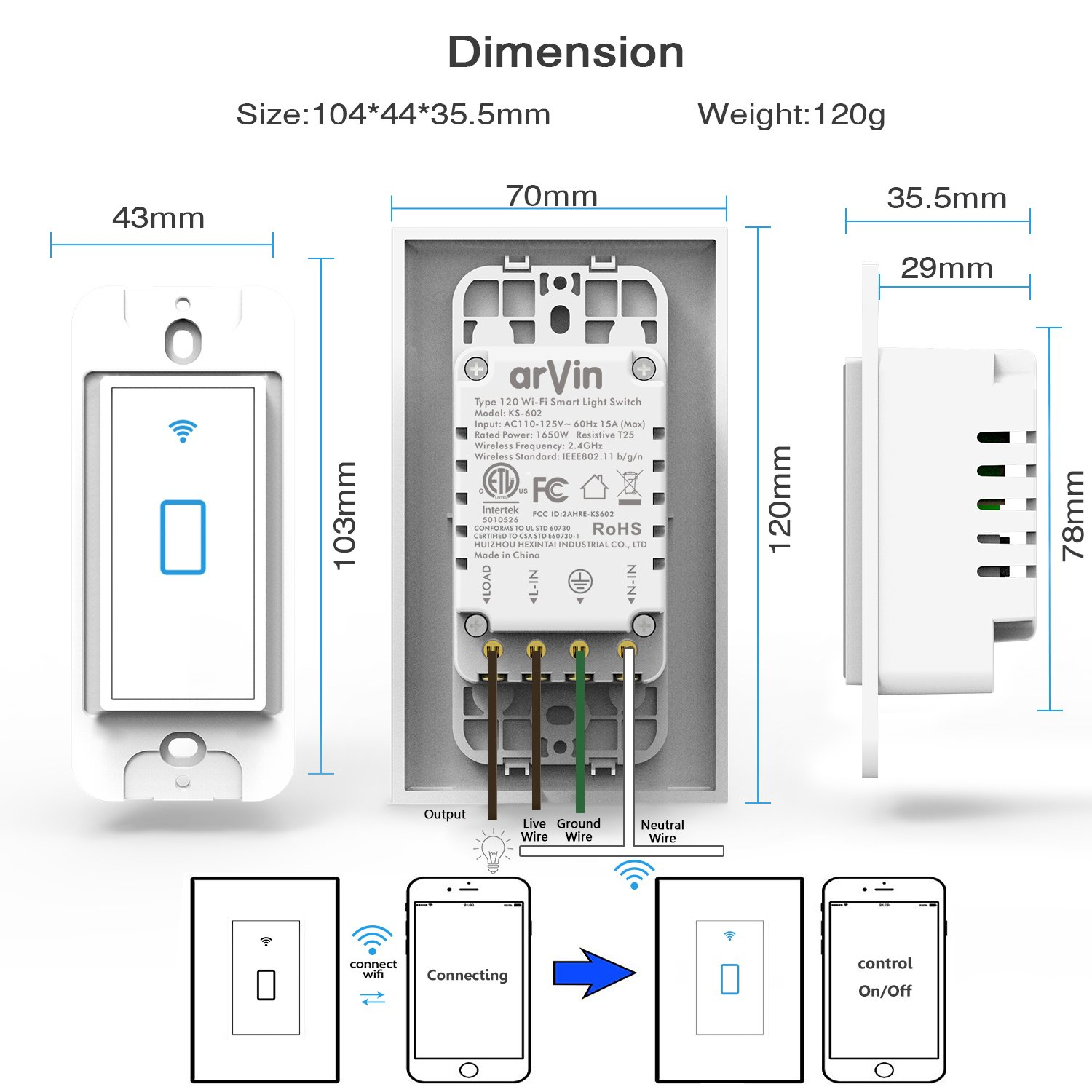 Smart Switch works with Alexa In Wall Light Switch Mobile Phone APP ...