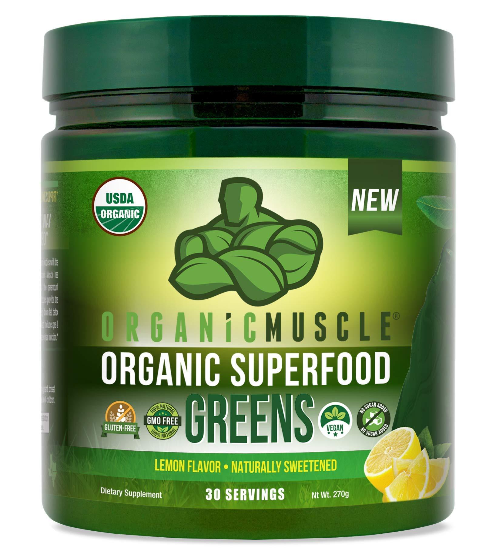 Certified Organic Superfood Greens Powder   Keto Green Juice Supplement for Energy, Detox, Immune & Gut Health w/Pre & Probiotic Blend   Vegan, Non-GMO, Lemon Flavor, 30 Serv  ★PRE-Order Rate★