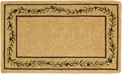 Nedia O2227 Not Applicable Heavy Duty 22 x 36 Coco Mat Olive Branch Border, Plain
