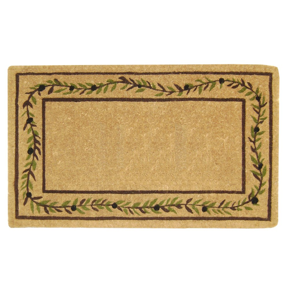 Nedia O2227 Not Applicable Heavy Duty 22'' x 36'' Coco Mat Olive Branch Border, Plain