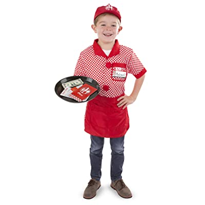 Melissa & Doug Server Role Play Costume Dress-Up Set with Realistic Accessories: Toys & Games