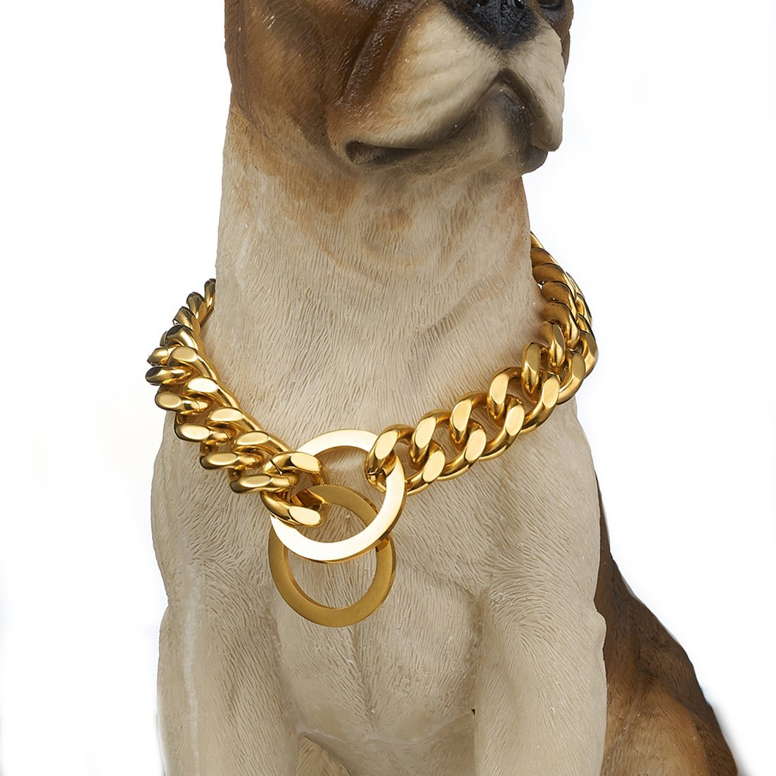 Granny Chic Strong Gold Tone 12/15mm Dog Collar Stainless Steel Pet Curb Chain Necklace(15mm,24inches)