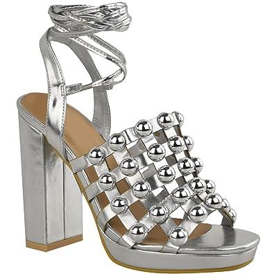 20085ac9543 Fashion Thirsty Womens Ladies Studded High Heels Diamante Sandals Platforms  Strappy UK Size