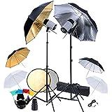 Kit Photo 2 Flashes, 6 parapluies, réflecteur & accessoires