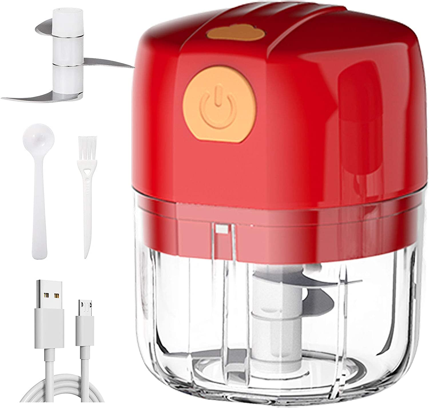 Electric Mini Garlic Chopper, Portable Garlic Mincer Grinder Food Slicer Garlic Chopper for Fruit Meat Onion Pepper Vegetable Nuts Small Food Processor (Red, 45W, 250ML)