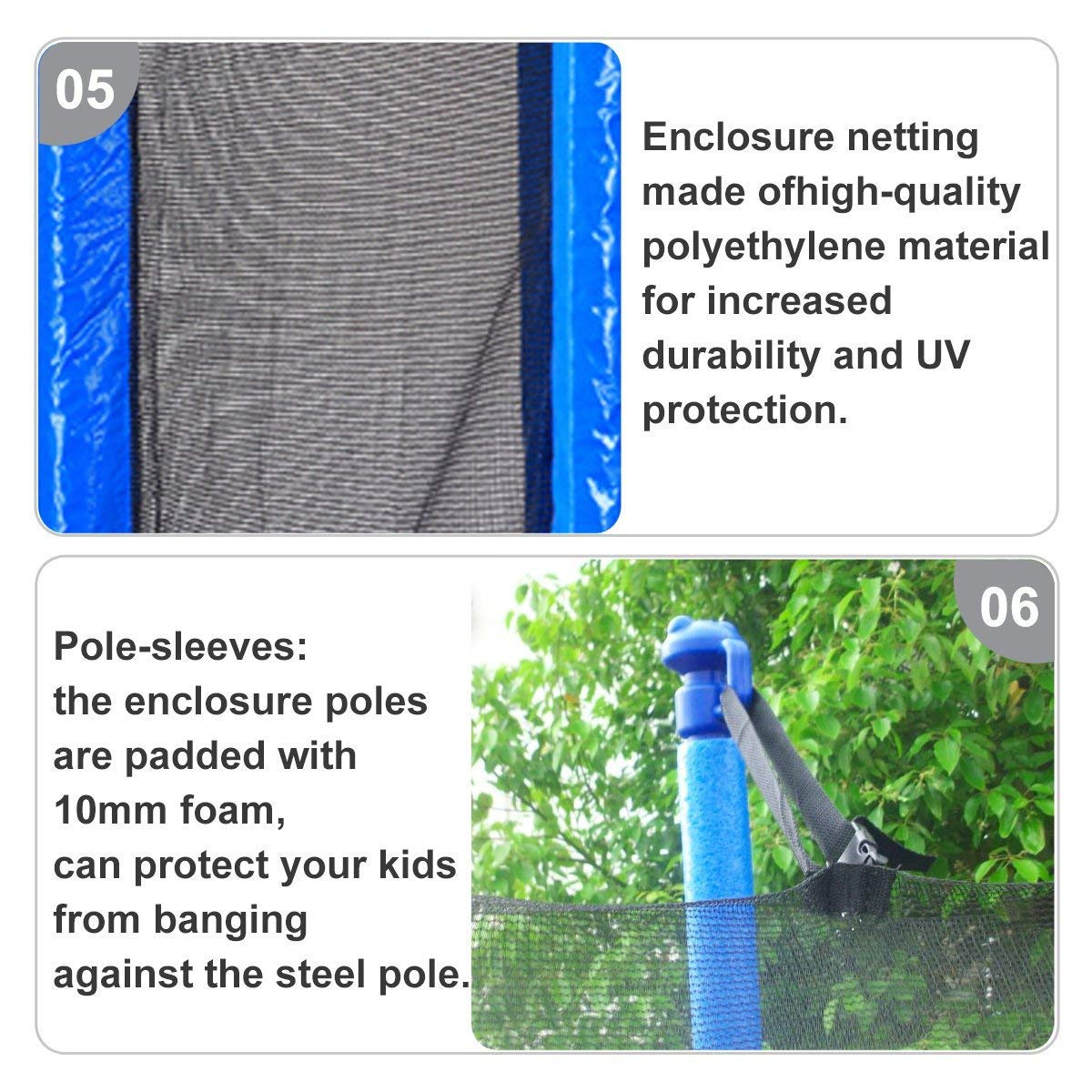 Zupapa 15FT 14FT 12FT TUV Approved Kids Trampoline with Enclosure net, Ladder Pole Safety Pad Jumping Mat Spring Pull T-Hook, Include All Accessories, Great Outdoor Backyard Trampoline (15FT) by Zupapa (Image #8)
