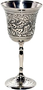 Premium Quality Silver-Nickel Plated - Antiqued Wine Goblet/Kiddush Cup/Chalice - by Alchemade