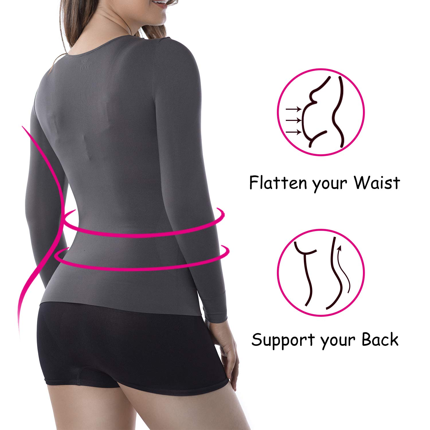 +MD Women Compression Slimming Undershirt Tops Long Sleeve V-Neck T-Shirt for Tummy Waist and Bust Shapewear