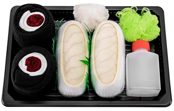 Sushi Socks Box - 2 pares de CALCETINES: Nigiri Pampanito Maki de Atún - REGALO DIVERTIDO, Algodón de alta Calidad Tamaños 41-46, Certificado de OEKO-TEX, ...