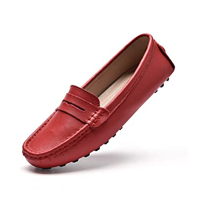 BEAUSEEN Women's Penny Loafers Leather Driving Moccasins Comfort Boat Shoes | Loafers & Slip-Ons