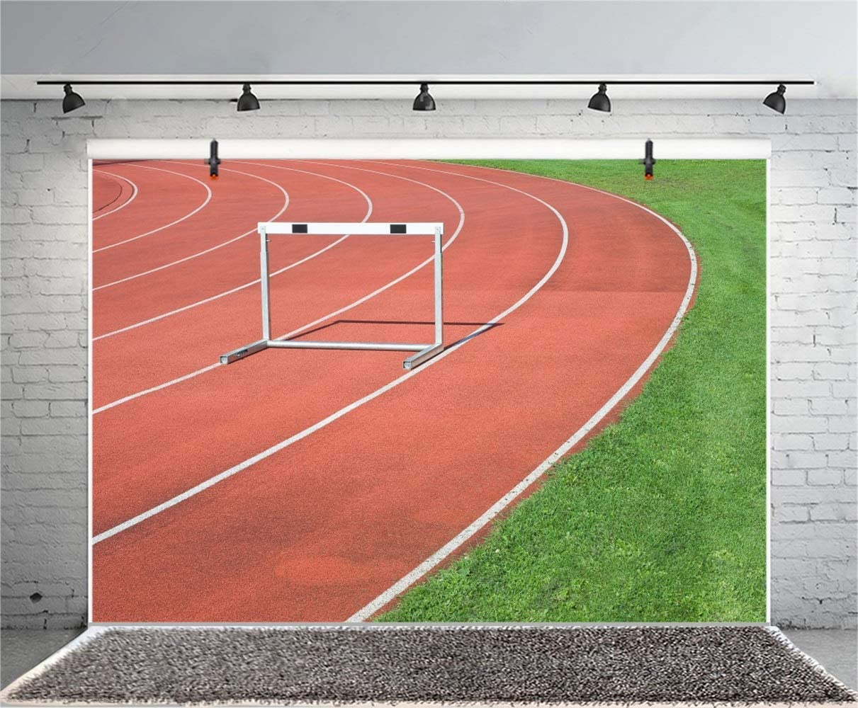 7x5ft Athletics Running Track Backdrop Polyester Photography Background Hurdles Red Runway Grass Field Sports Match Children Kids Adults Portrait Background Photo Video Studio Props
