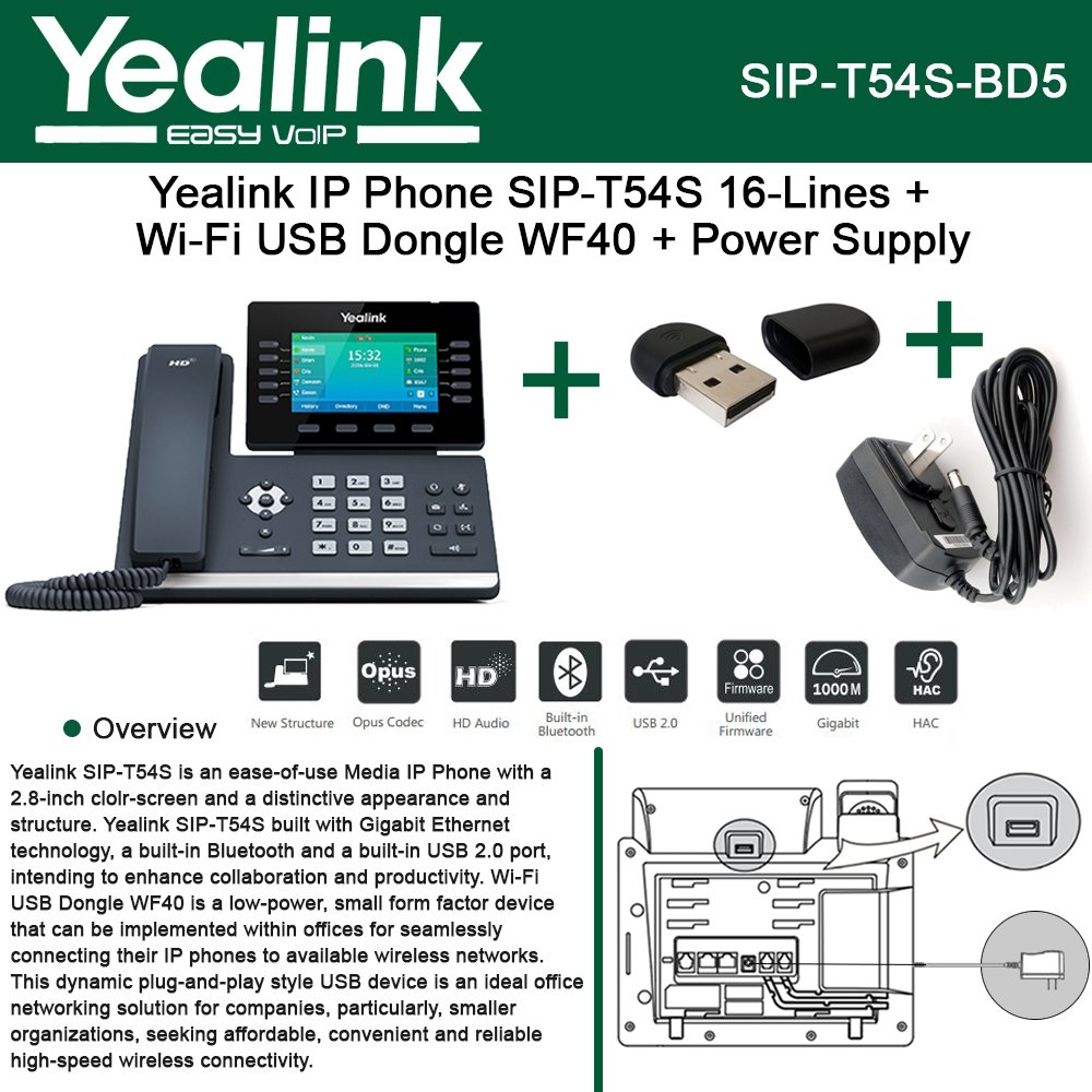 Yealink SIP-T54S IP Phone 16Lines + Wi-Fi USB Dongle WF40 + Power Supply